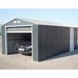 Emerald Olympian Car Garage 12X20 Grey. Up And Over Door + Side Door.
