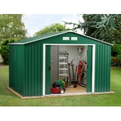 Colossus Springdale 10X8 Metal Apex Shed Green + Free Foundation Kit