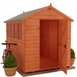 6X8 Apex Timber Shed  12Mm With 4  Windows.