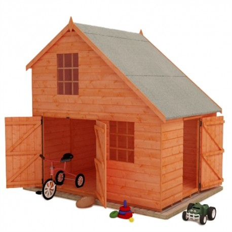Groovy Garage Childrens Playhouse 8X6 . Double Storey.